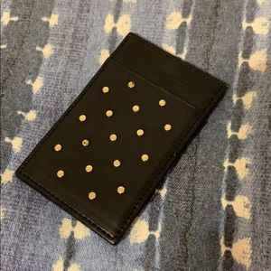 J.Crew gold studded black leather French wallet